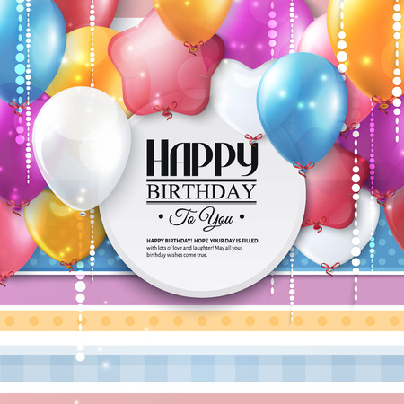 Birthday card with colorful balloons and confetti. Çizim