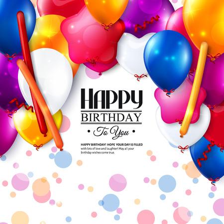 Verjaardagskaart met kleurrijke ballonnen en confetti. Stock Illustratie