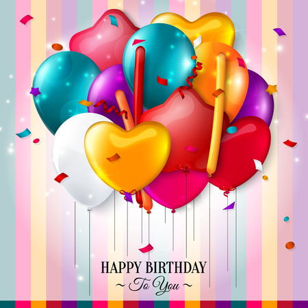 date of birth: Birthday card with colorful balloons and confetti. Illustration