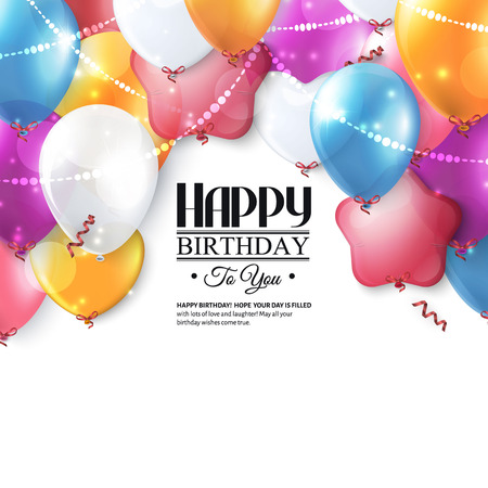Birthday card with colorful balloons and confetti. Vectores