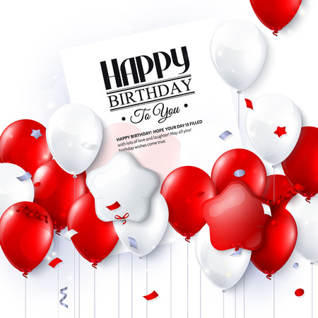 Birthday card with colorful balloons and confetti. Illustration