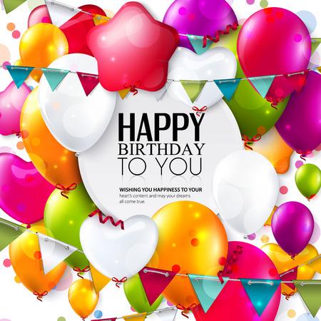 compleanno: Scheda di compleanno con palloncini colorati e coriandoli.