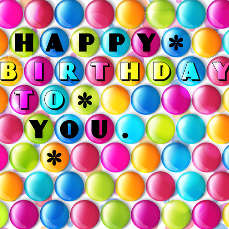 Birthday card with multicolored candy and text. Vector