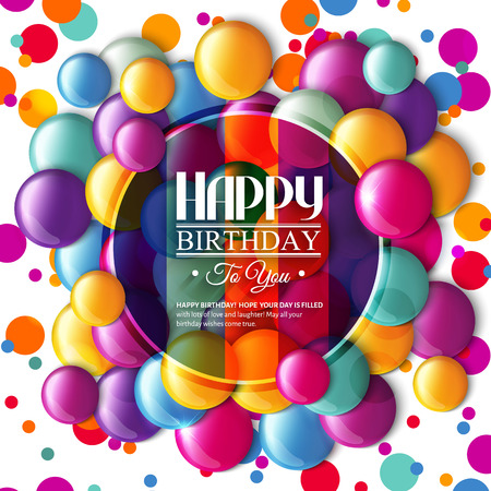 compleanno: Scheda di compleanno con caramelle multicolori e testo. Vettoriali