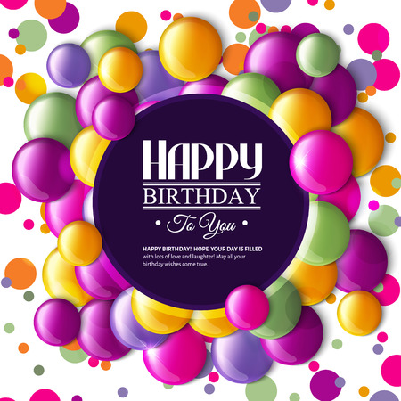 Birthday card with multicolored candy and text.