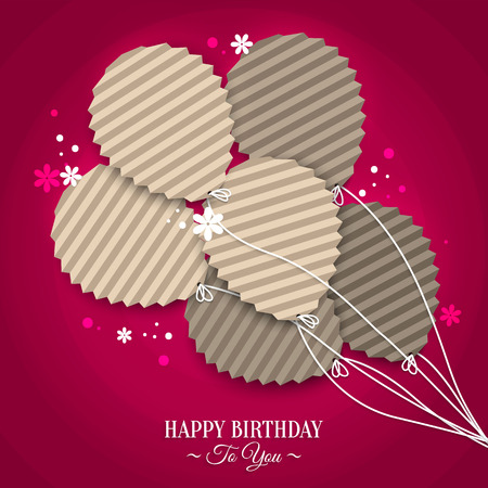 folded paper: Birthday wish with balloons in the style of flat folded paper. Illustration