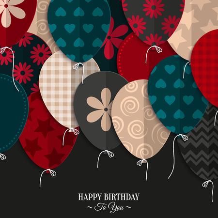 gente saludando: Vector tarjeta de cumpleaños con globos de papel y el texto de cumpleaños.