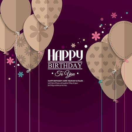 평면 접힌 종이의 스타일에 풍선과 함께 생일 소원.