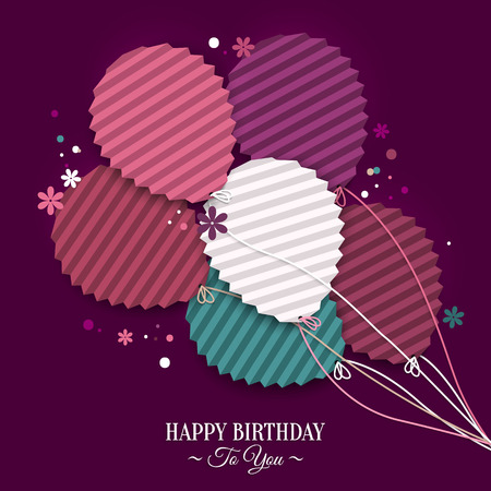 wish of happy holidays: Birthday wish with balloons in the style of flat folded paper. Illustration