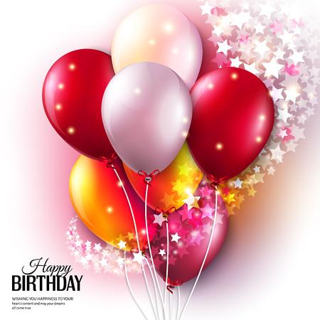 Tarjeta de cumpleaños con globos de colores y estrellas.