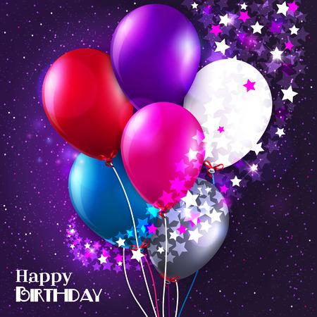 Carte d'anniversaire avec des ballons et des étoiles sur fond galaxie.