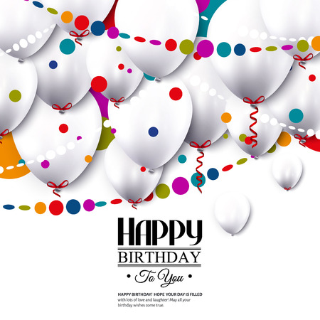 Birthday card with white balloons and confetti.