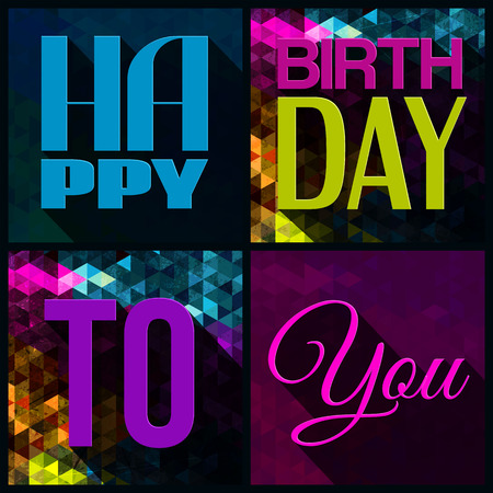funny birthday: Vector birthday card with birthday text on triangular background.