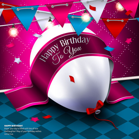 anniversary wishes: Birthday card with balloon and bunting flags.