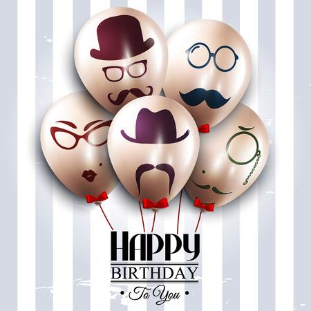 ローライズ スタイルのシルエットが付いている気球。口ひげ。