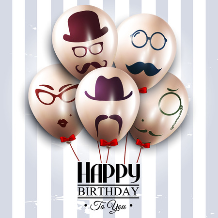 birthday cards: Balloons with silhouettes on hipster style. Mustaches.
