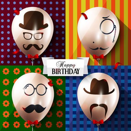 mustaches: Vector birthday card. Balloons with silhouettes on hipster style. Mustaches. Illustration