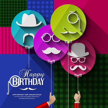Vector birthday card. Colorful balloons in flat design. Silhouettes on hipster style. Mustaches.