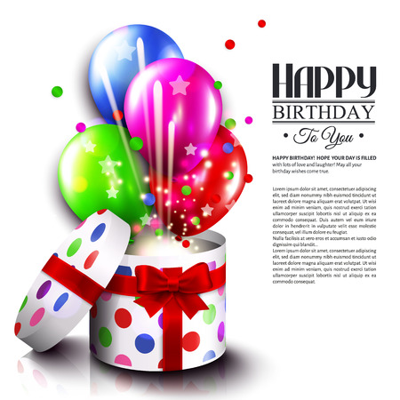 birthday balloon: Birthday card with open gift box, balloons and magic light fireworks. Vector.