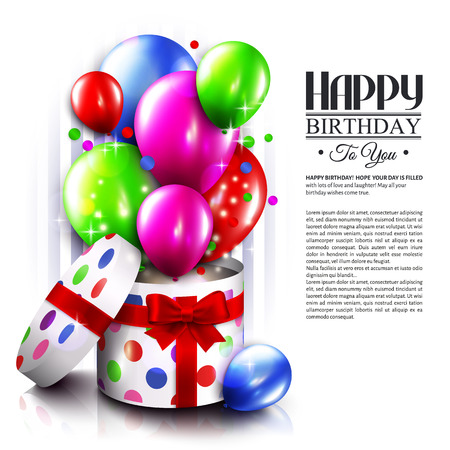 Birthday card with open gift box, balloons and magic lights. Vector.