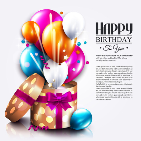 Birthday card with open gift box, balloons and magic light fireworks. Vector.