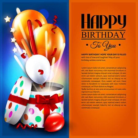 Birthday card with open gift box, balloons and magic light fireworks