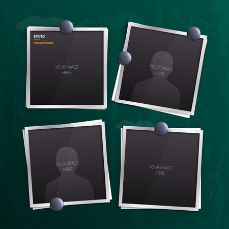 collage: Vector set of empty photo frames on chalkboard, blackboard.