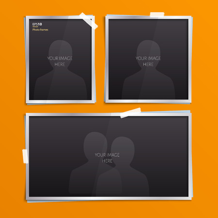 Vector set of empty photo frames with stickers.