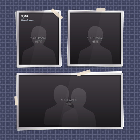 Vector set of empty photo frames with stickers on geometric pattern. Illustration