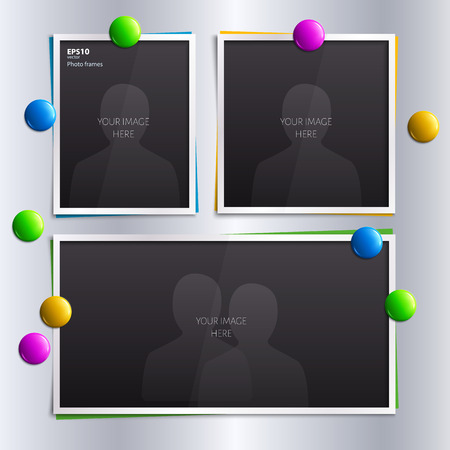 magnet: Vector set of empty photo frames with colorful magnets on the fridge. Illustration
