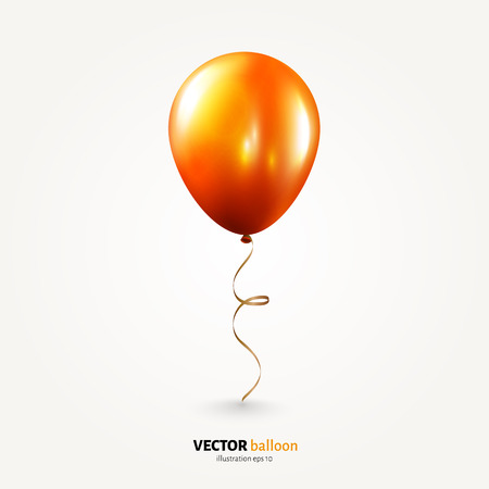 Vector party flying balloon with streamer isolated on white background. Illustration