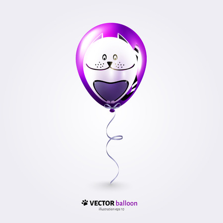 flying balloon: Vector party flying balloon with cat isolated on white background.