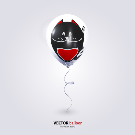 balloon vector: Vector party flying balloon with cat isolated on white background.