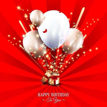 celebra: Tarjeta de cumpleaños con caja abierta de regalo, globos y fuegos artificiales luz magia en el fondo los rayos del sol.