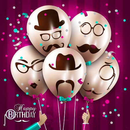 Vector birthday card. Balloons with silhouettes on hipster style. Mustaches. Stock Illustratie