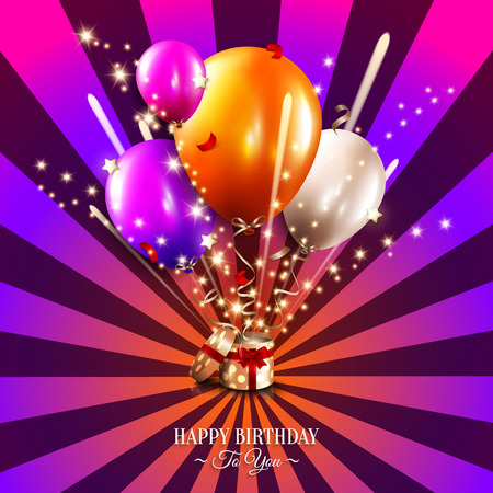 Birthday card with open gift box, balloons and magic light fireworks on the sun rays background. Vector