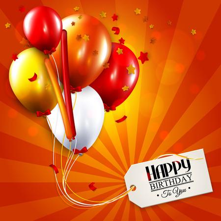 Vector verjaardagskaart met ballonnen, confetti en tag voor uw tekst.