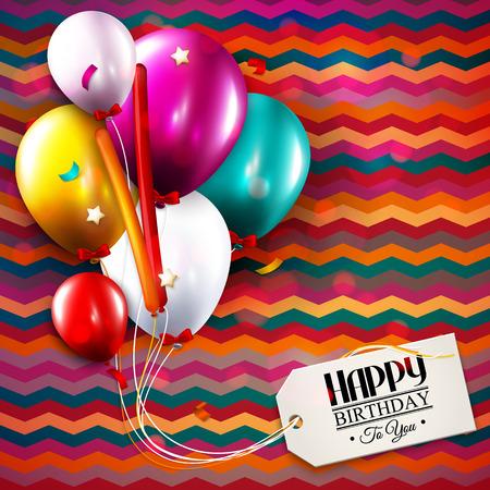 풍선, 색종이와 텍스트에 대 한 태그 벡터 생일 카드. 일러스트
