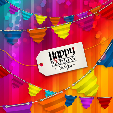Vector birthday card with bunting flags and tag for your text on multicolored background. Illustration