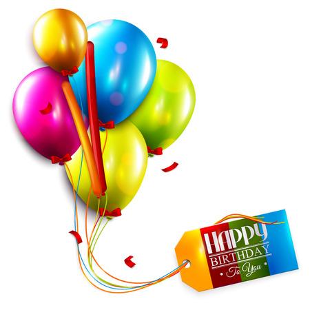 텍스트 풍선, 색종이와 태그 벡터 생일 카드. 일러스트