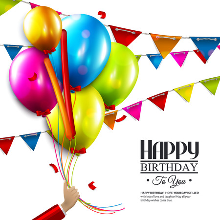 Vector birthday card with balloons, bunting flags and confetti