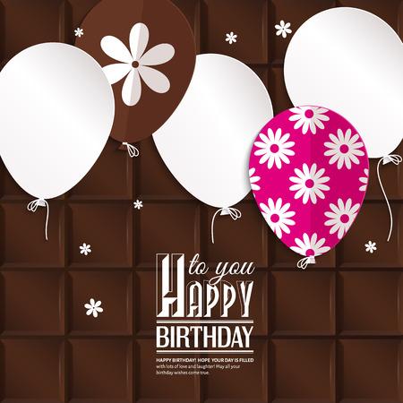 fondo chocolate: Vector tarjeta de cumplea�os con globos de papel en el fondo de chocolate. Vectores