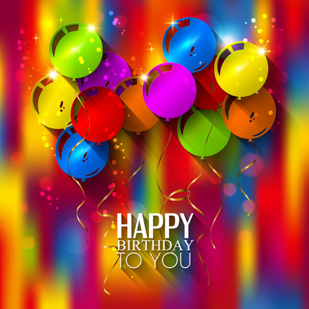 Vector birthday card with balloons and ribbons on multicolored background.