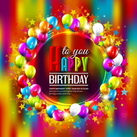 Vector birthday card with stars, balloons and confetti on multicolored background.