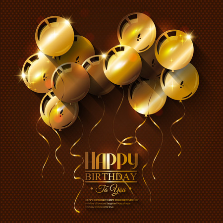 Vector birthday card with golden balloons and ribbons.