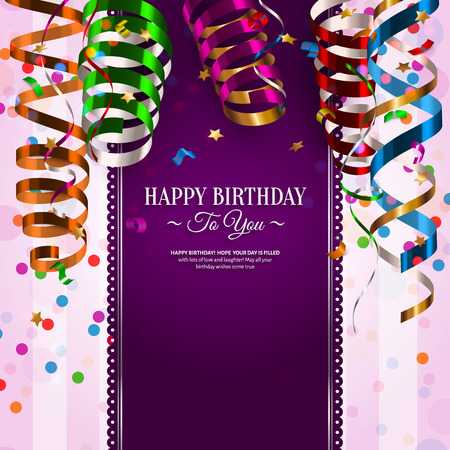 Vector birthday card with colorful curling ribbons, streamers. Vectores