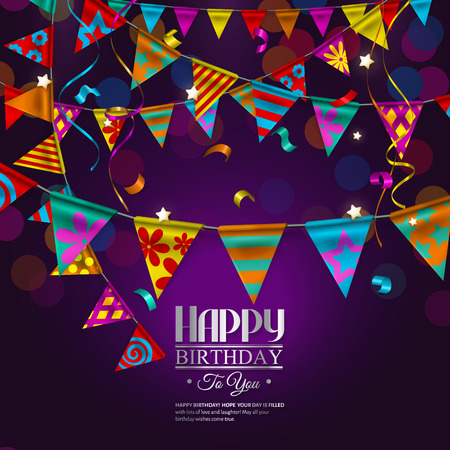 Vector birthday card with bunting flags and ribbons.