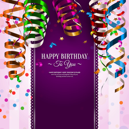 streamers: Vector birthday card with colorful curling ribbons, streamers. Illustration