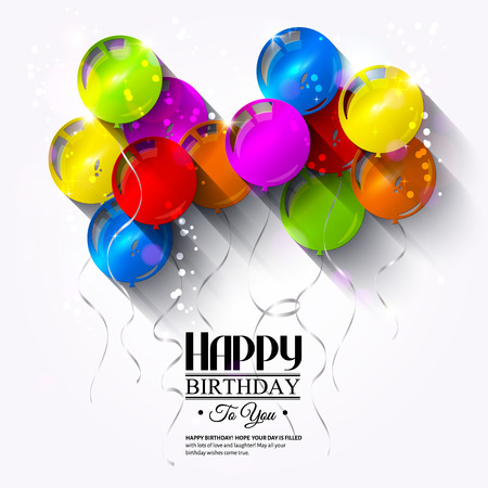Vector birthday card with balloons and ribbons. Иллюстрация