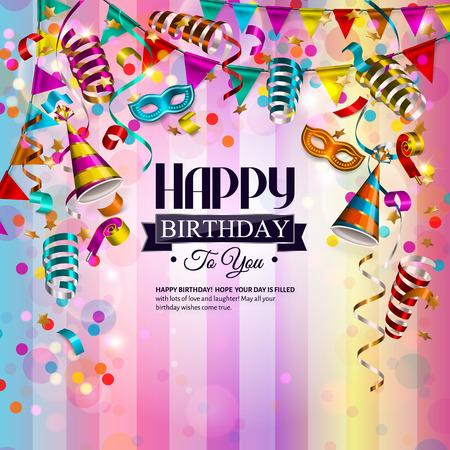 mascaras de carnaval: tarjeta de cumpleaños con cintas de colores que se encrespan, máscara de cumpleaños, sombrero y confeti.